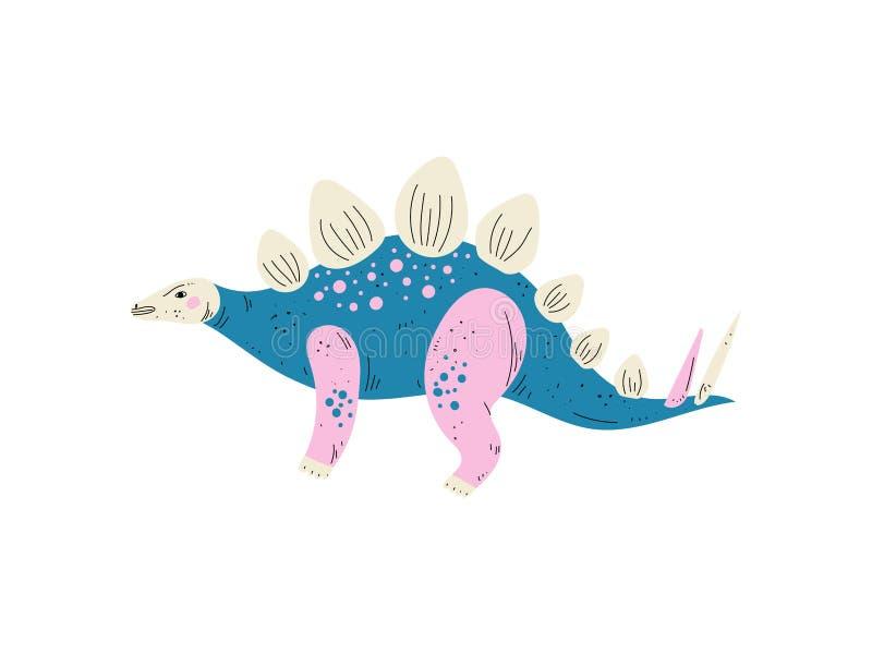 Dinossauro colorido do Stegosaurus, ilustração animal pré-histórica bonito do vetor ilustração stock
