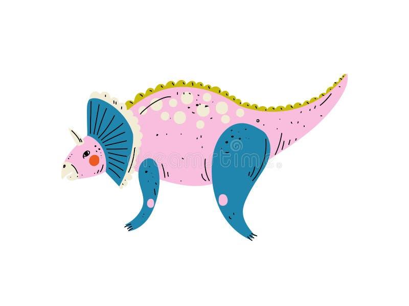 Dinossauro colorido do Triceratops, ilustração animal pré-histórica bonito do vetor ilustração stock