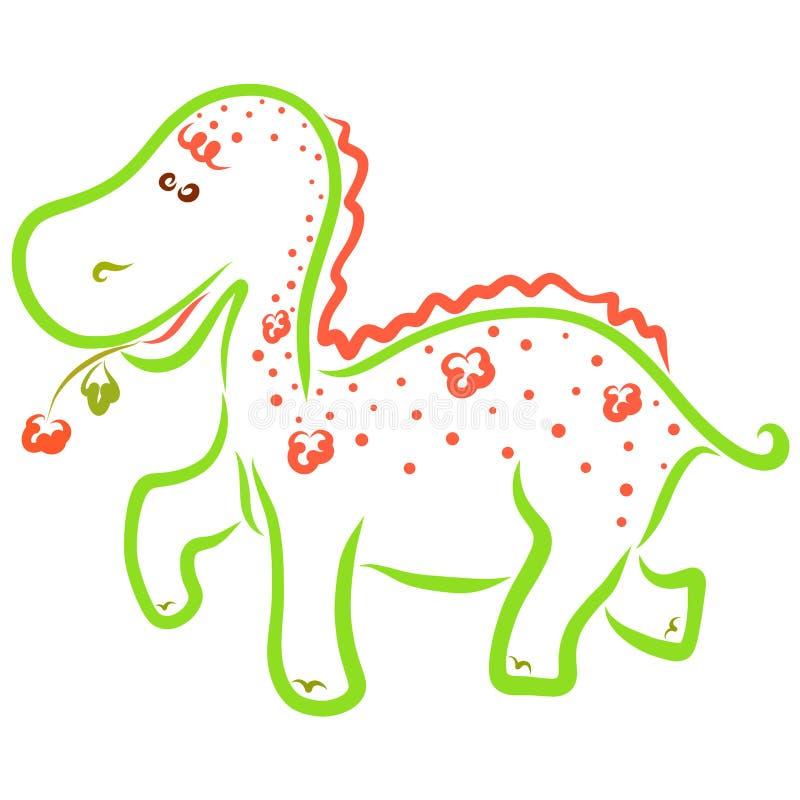 Dinossauro colorido engraçado com um teste padrão das flores e de uma flor mim ilustração royalty free
