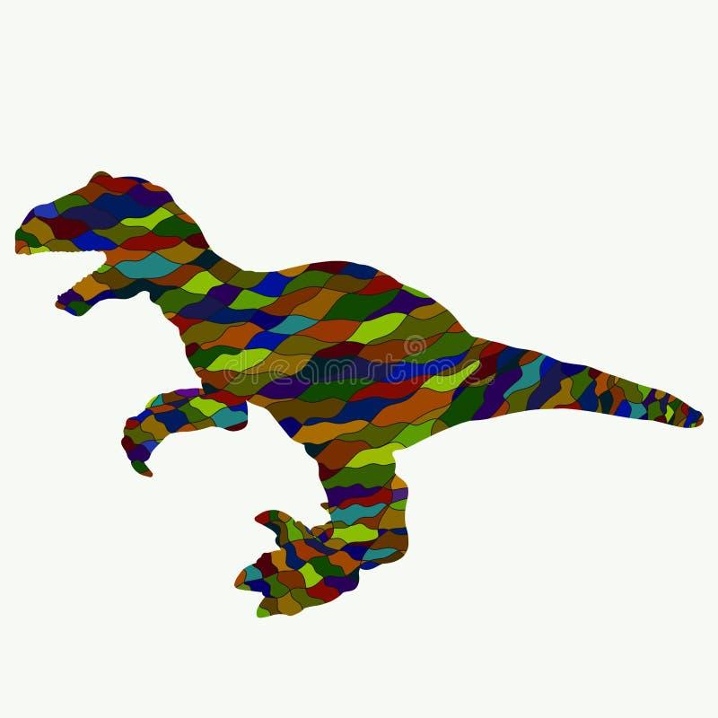 Dinossauro com boca aberta, teste padrão colorido ilustração do vetor