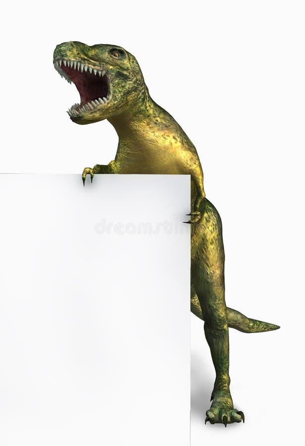 Dinossauro com borda do sinal em branco ilustração royalty free