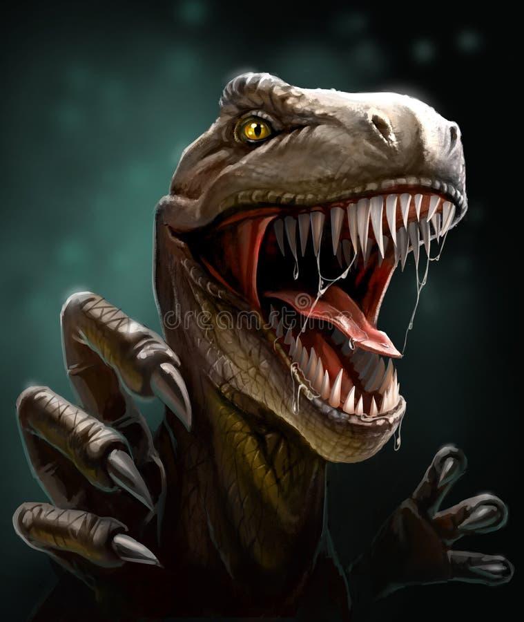 Dinossauro com dentes e garras, close-up ilustração stock