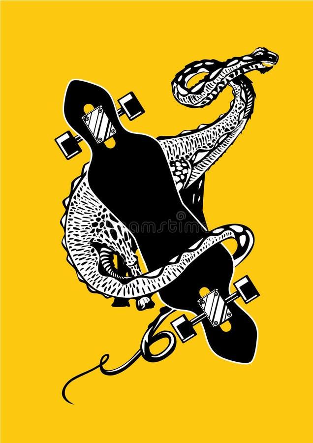 Dinossauro com skate Apatosaurus com longboard Lineart preto e branco do vetor Cartaz do esporte ilustração stock
