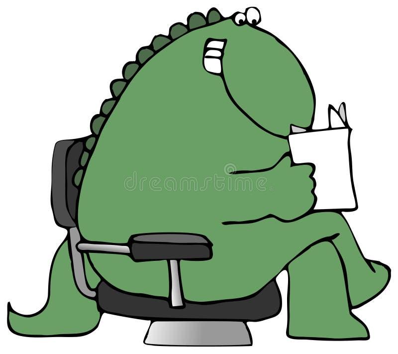 Dinossauro da leitura ilustração royalty free