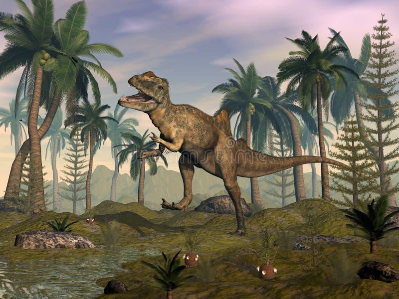 Dinossauro de Concavenator que ruje no deserto - 3D rendem ilustração stock