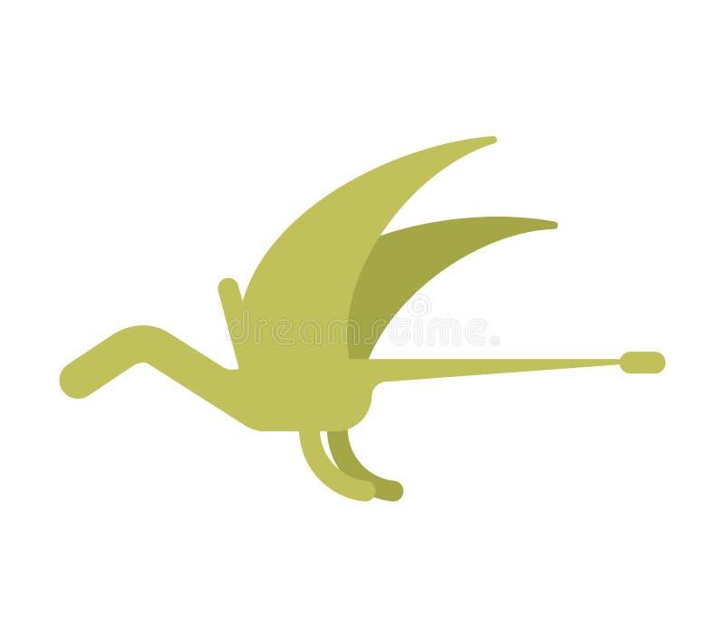 Dinossauro de Pterosaur isolado Animal antigo Dino mo pré-histórico ilustração stock