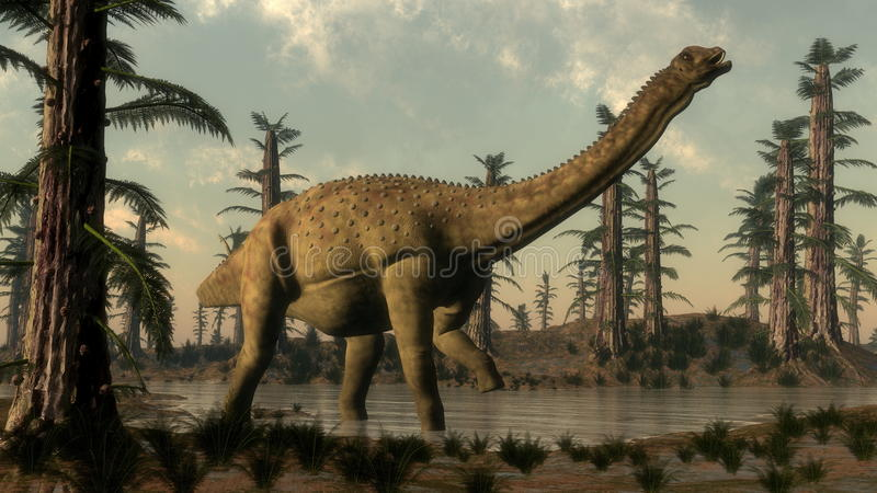 Dinossauro de Uberabatitan no lago - 3D rendem ilustração royalty free