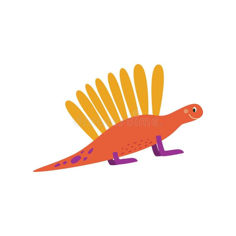 Dinossauro do bebê dos desenhos animados ou ilustração lisa do vetor bonito do dragão isolada no branco ilustração stock