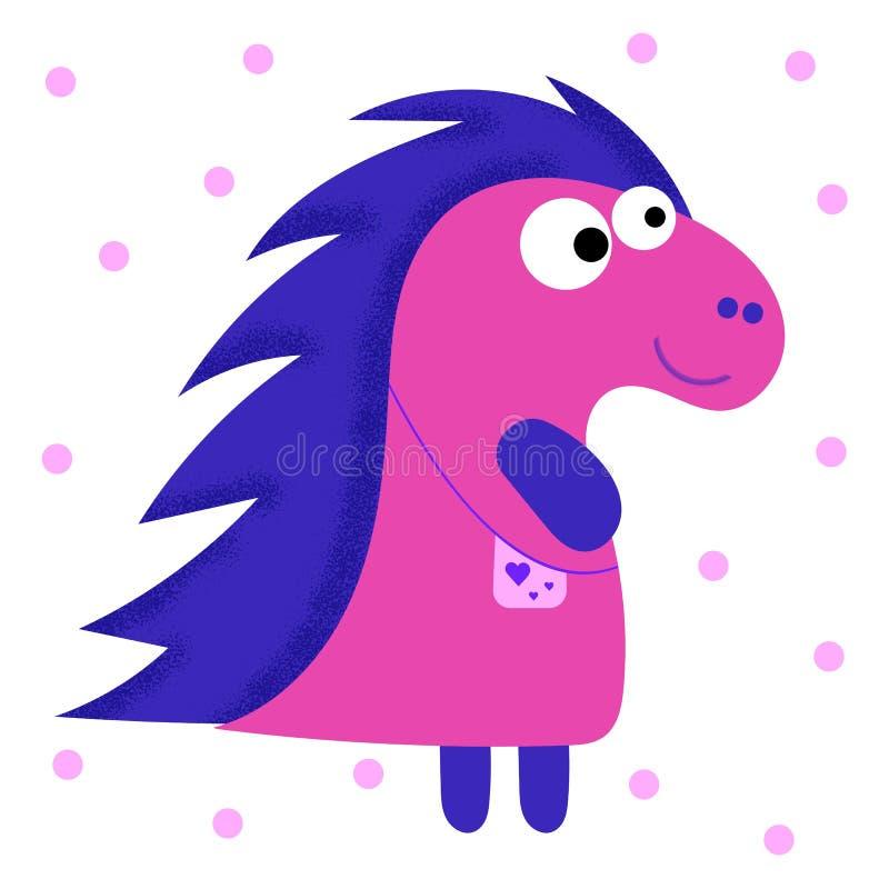 Dinossauro do beb? dos desenhos animados do rosa do car?ter da fantasia para o projeto da decora??o Ilustra??o crian?ola do vetor ilustração stock