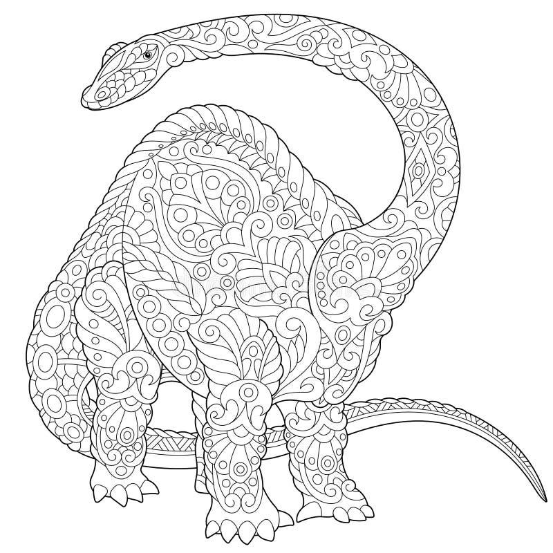 Dinossauro do brontosaurus de Zentangle ilustração royalty free
