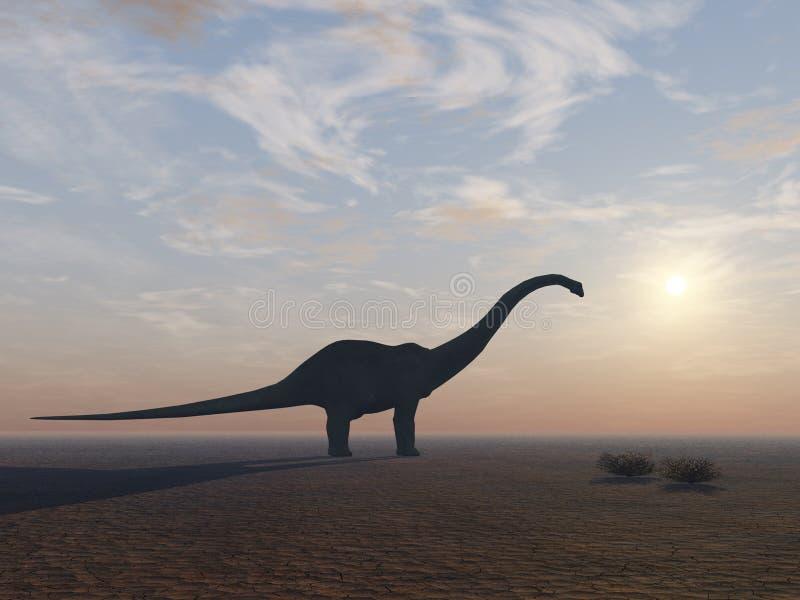 Dinossauro do Diplodocus em sua extremidade ilustração do vetor