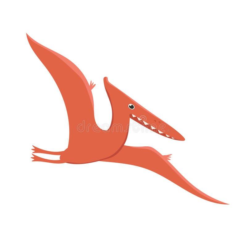 Dinossauro do pterodátilo no estilo dos desenhos animados isolado em um fundo branco Gr?ficos de vetor ilustração royalty free