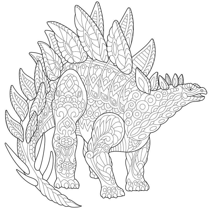 Dinossauro do stegosaurus de Zentangle ilustração royalty free