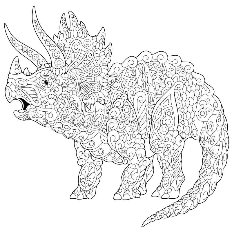Dinossauro do triceratops de Zentangle ilustração royalty free