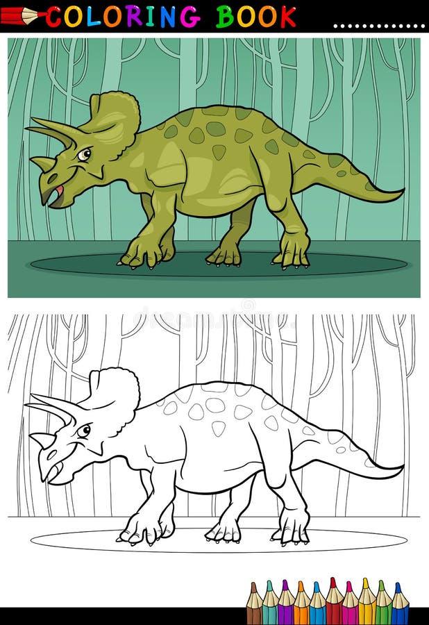 Dinossauro do triceratops dos desenhos animados para o livro para colorir ilustração stock