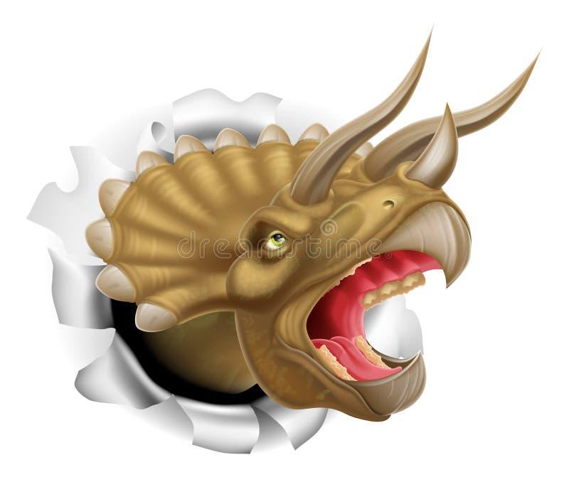 Dinossauro do Triceratops que rasga-se através de uma parede ilustração royalty free