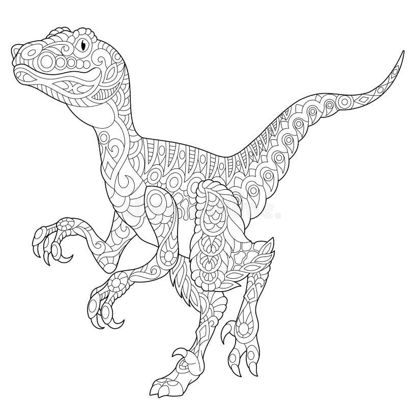 Dinossauro do velociraptor de Zentangle ilustração royalty free