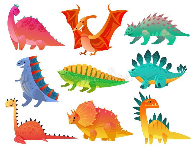 Dinossauro dos desenhos animados As crianças de Dino da natureza do dragão brincam dos caráteres selvagens pré-históricos bonitos ilustração royalty free