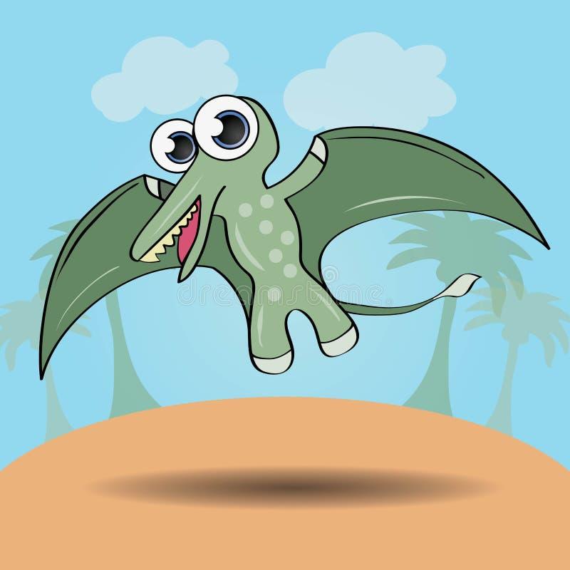 Dinossauro engraçado do estilo dos desenhos animados ilustração stock