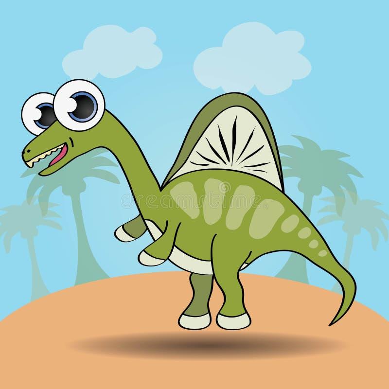Dinossauro engraçado do estilo dos desenhos animados ilustração do vetor