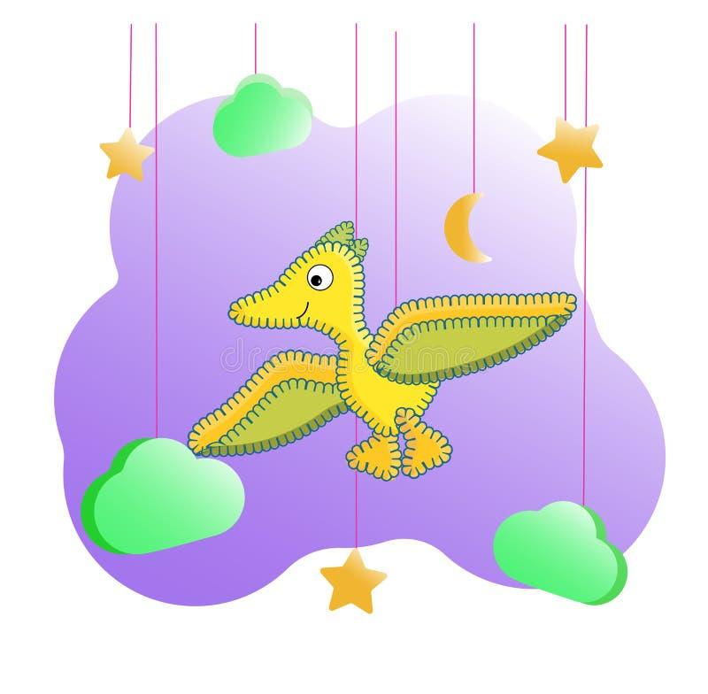 Dinossauro engraçado do personagem de banda desenhada Cópia de Dino entre as nuvens e as estrelas Pterodátilo amarelo para cartaz ilustração royalty free