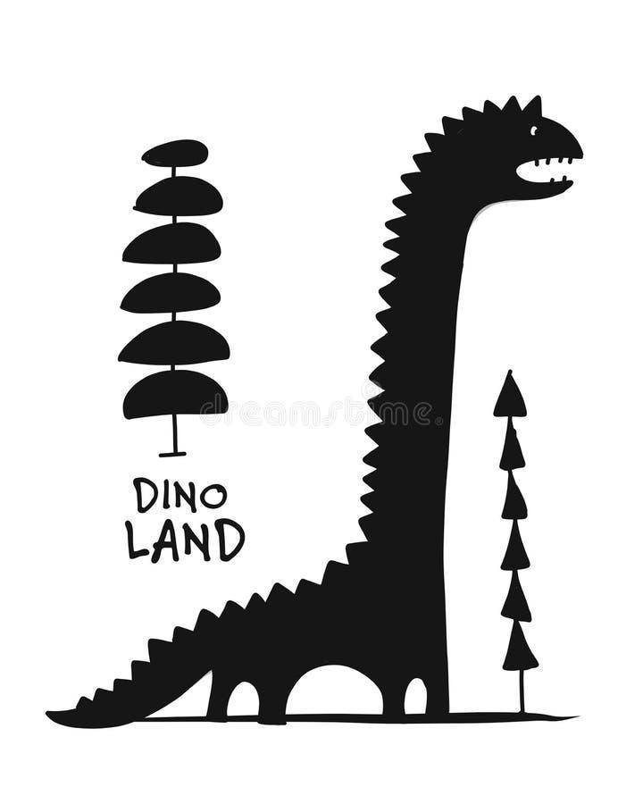 Dinossauro engraçado, silhueta preta, estilo criançola para seu projeto ilustração stock