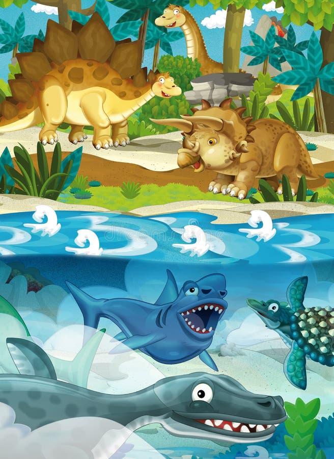 Dinossauro feliz dos desenhos animados - tartaruga do dente do sabre do diplodocus do velociraptor do triceratops do tiranossauro ilustração do vetor