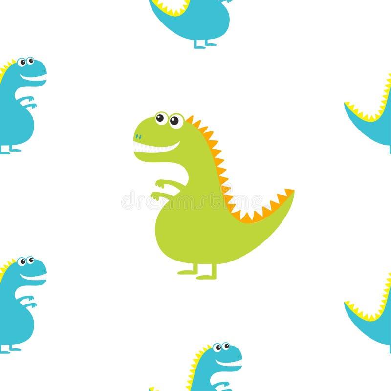 Dinossauro isolado no fundo branco Caráter engraçado do bebê de Dino dos desenhos animados bonitos Projeto liso Teste padrão sem  ilustração royalty free