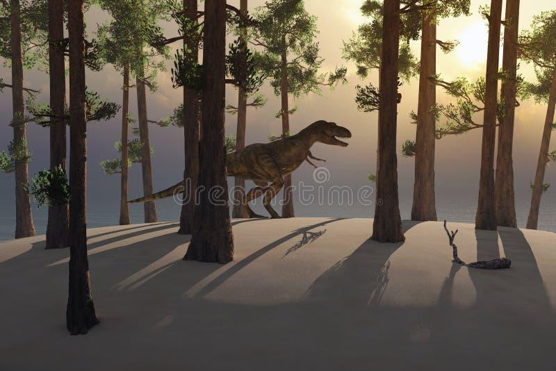 Dinossauro nas madeiras ilustração royalty free