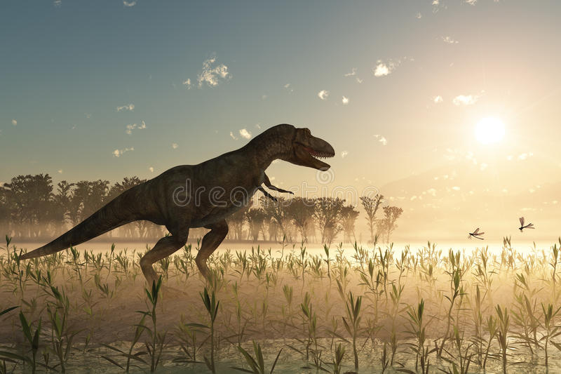 Dinossauro no nascer do sol ilustração royalty free