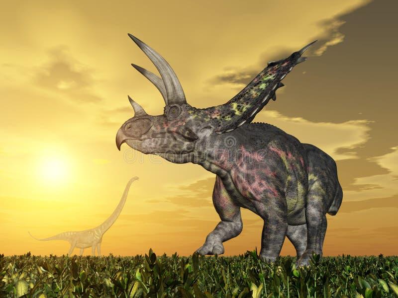 Dinossauro Pentaceratops ilustração stock