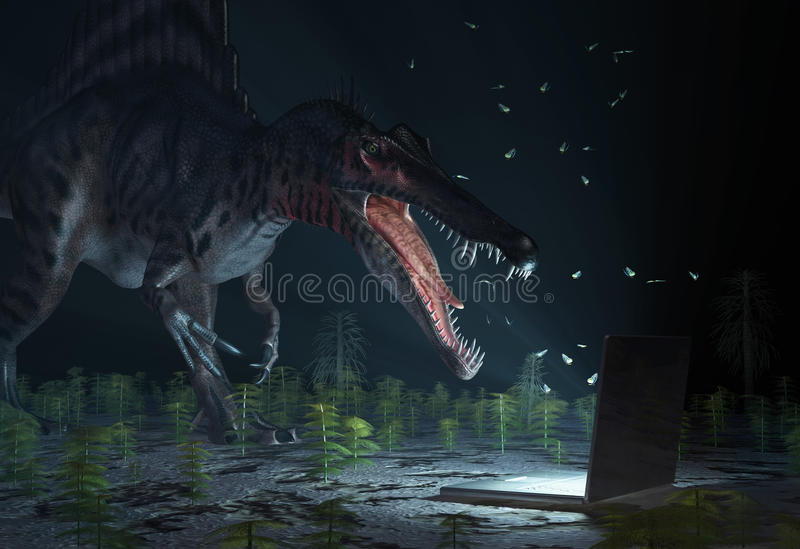 Dinossauro que olha no computador ilustração royalty free
