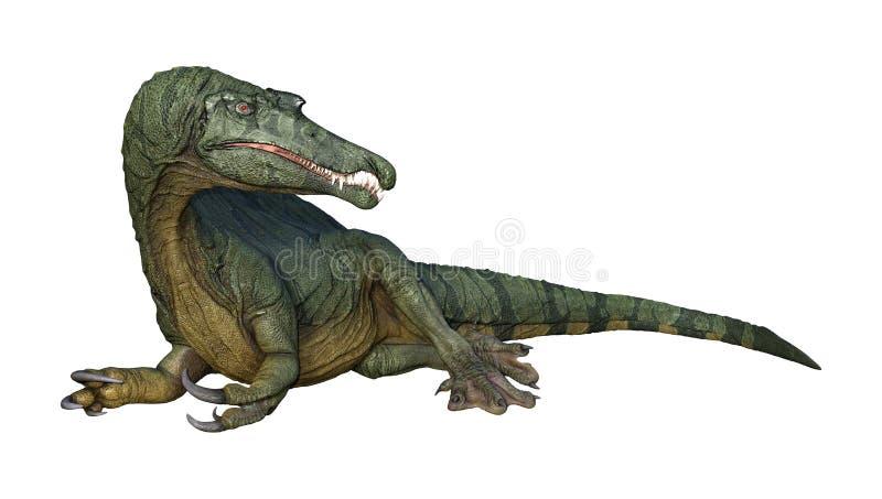 dinossauro Spinosaurus da rendição 3D no branco ilustração do vetor