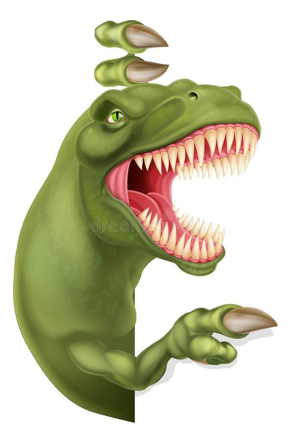 Dinossauro T Rex Peeking e apontar desenhos animados do sinal ilustração royalty free