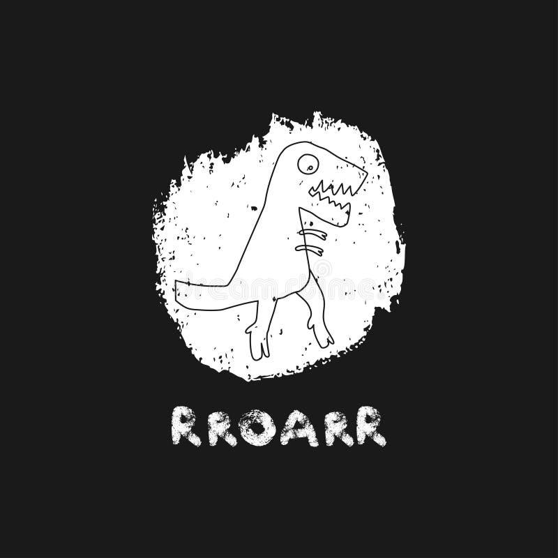 Dinossauro tirado mão com rotulação Réptil jurássico Caráter da garatuja de Rex do tiranossauro do esboço Dino bonito isolado ilustração royalty free