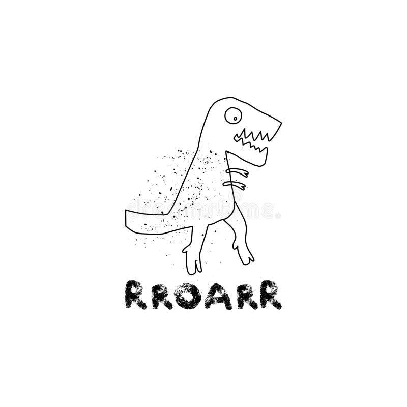 Dinossauro tirado mão com rotulação Réptil jurássico Caráter da garatuja de Rex do tiranossauro do esboço Dino bonito isolado ilustração do vetor