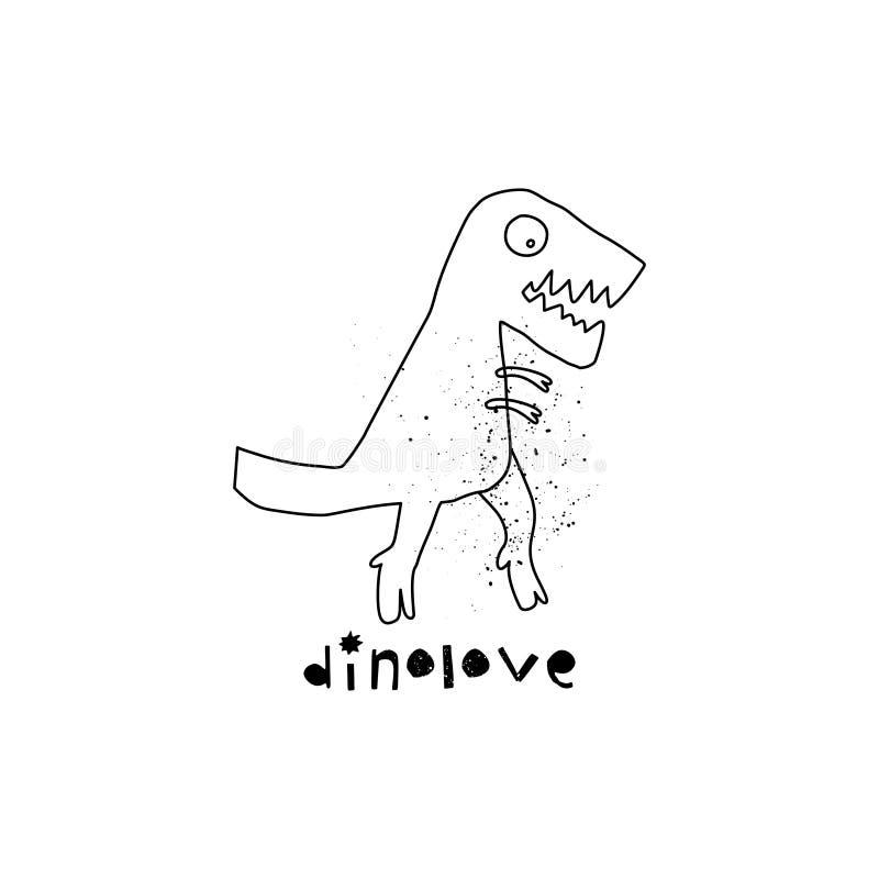 Dinossauro tirado mão com rotulação Réptil jurássico Caráter da garatuja de Rex do tiranossauro do esboço Dino bonito isolado ilustração stock