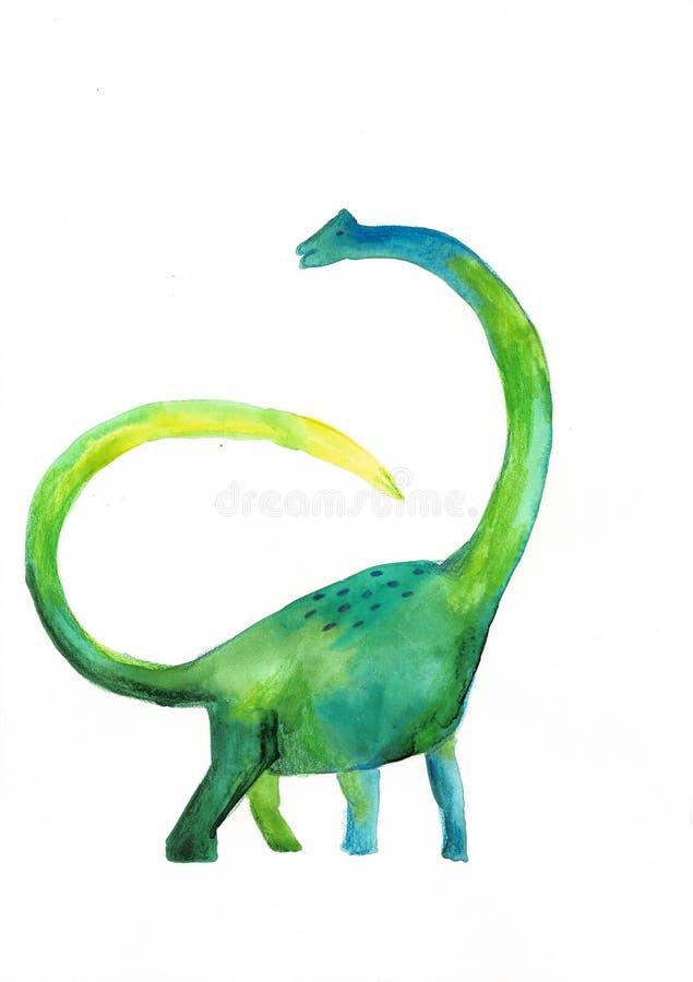 Dinossauro verde da aquarela no fundo branco Desenho do `s da crian?a ilustração do vetor