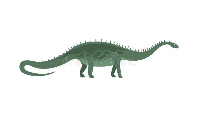 Dinossauro verde do período jurássico, animal realístico do Diplodocus dos desenhos animados gigantes extintos pré-históricos do  ilustração stock