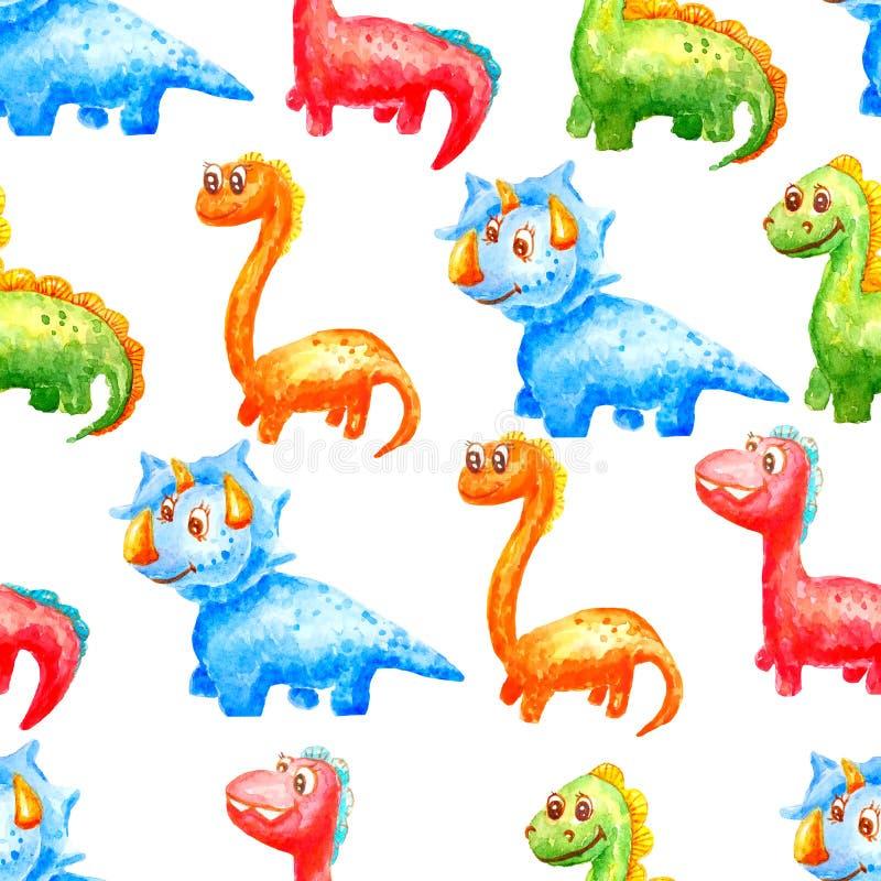 Dinossauros bonitos do teste padrão sem emenda da aquarela de cores e de tipos diferentes em um fundo branco ilustração do vetor