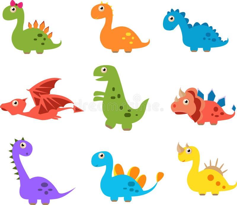 Dinossauros bonitos isolados no fundo branco foto de stock royalty free