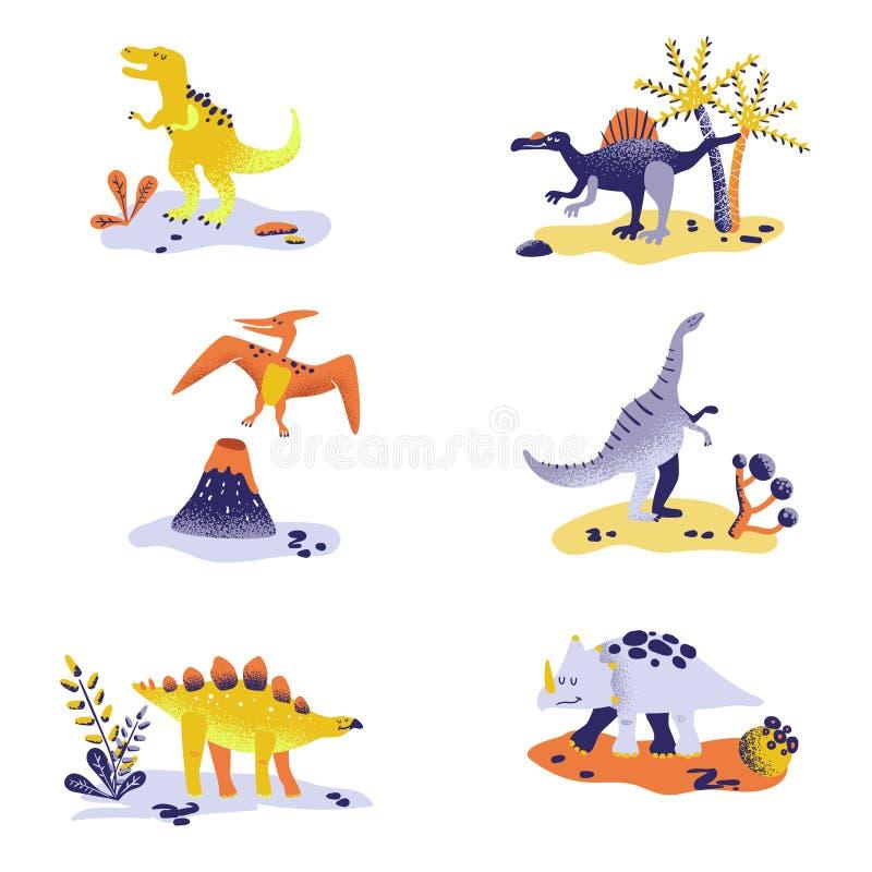 Dinossauros bonitos isolados no fundo branco Pegada do dinossauro, vulcão, palmeira, pedras Bebê Dino Collection ilustração do vetor