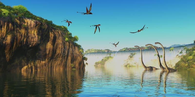 Dinossauros de Dimorphodon e de Omeisaurus ilustração royalty free