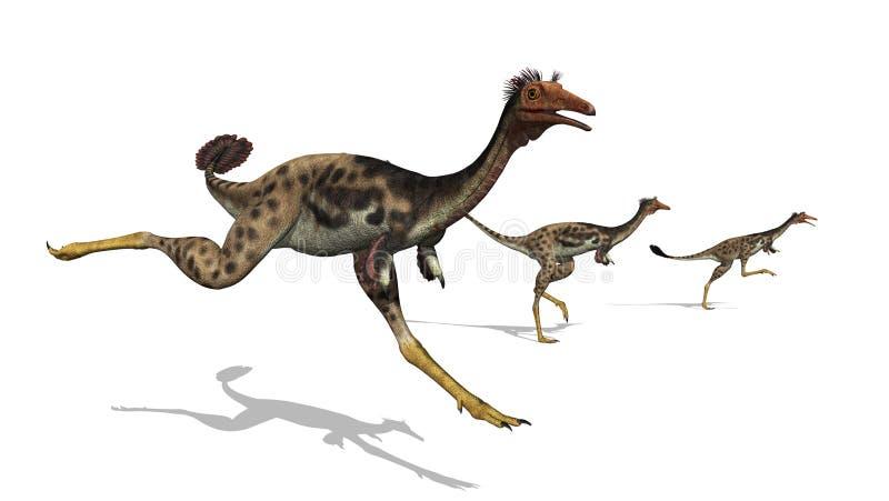 Dinossauros de Mononykus no funcionamento ilustração do vetor