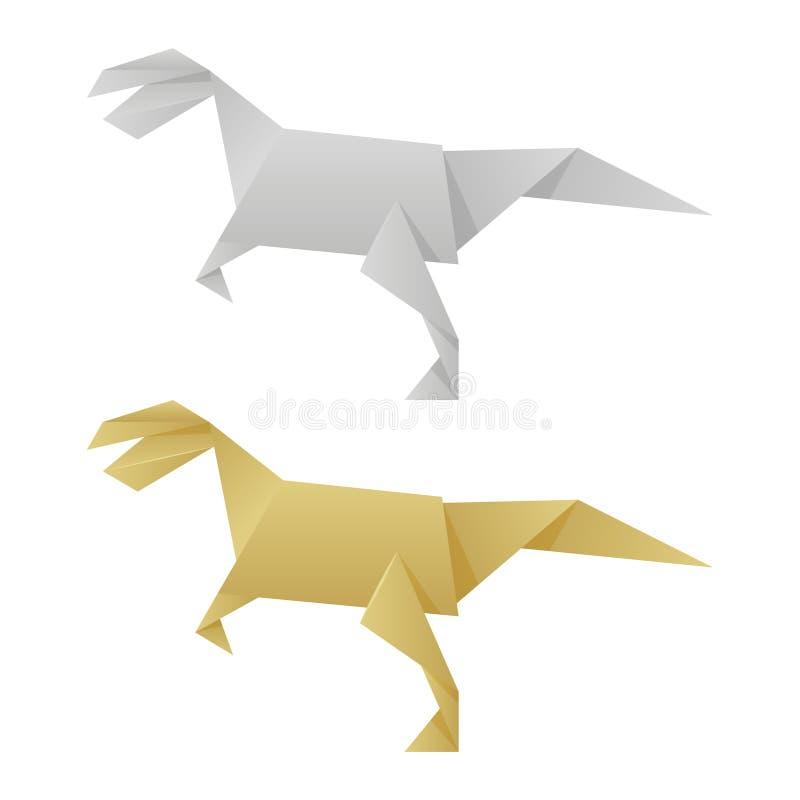Dinossauros de papel do origâmi isolados no fundo branco ilustração do vetor