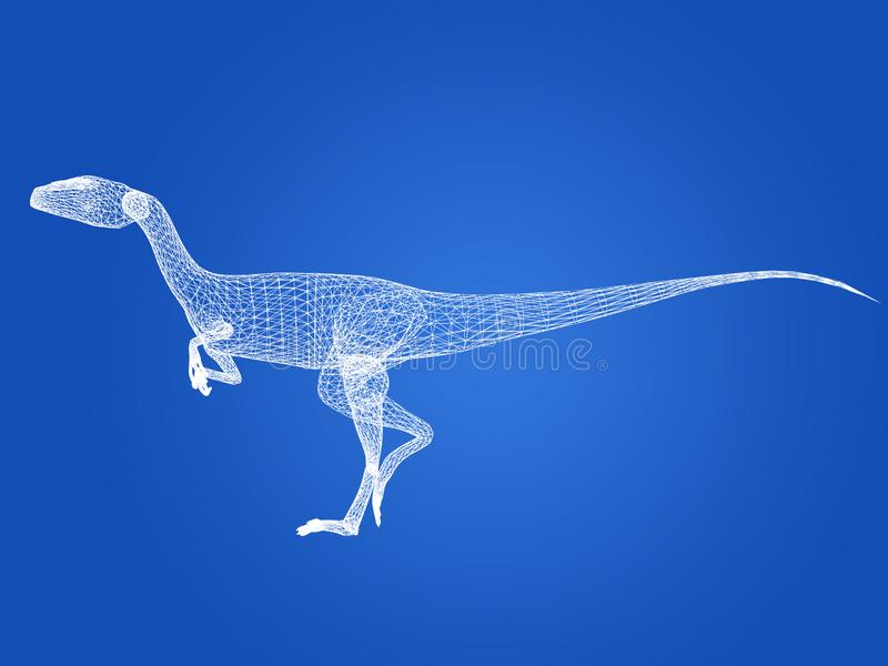 Dinossauros de raptor, renderização 3d ilustração stock