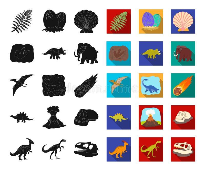 Dinossauros diferentes pretos, ícones lisos em coleção ajustada para o projeto Web animal pré-histórica do estoque do símbolo do  ilustração do vetor