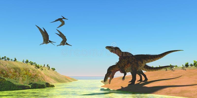 Dinossauros do Acrocanthosaurus e répteis de Pteranodon ilustração do vetor