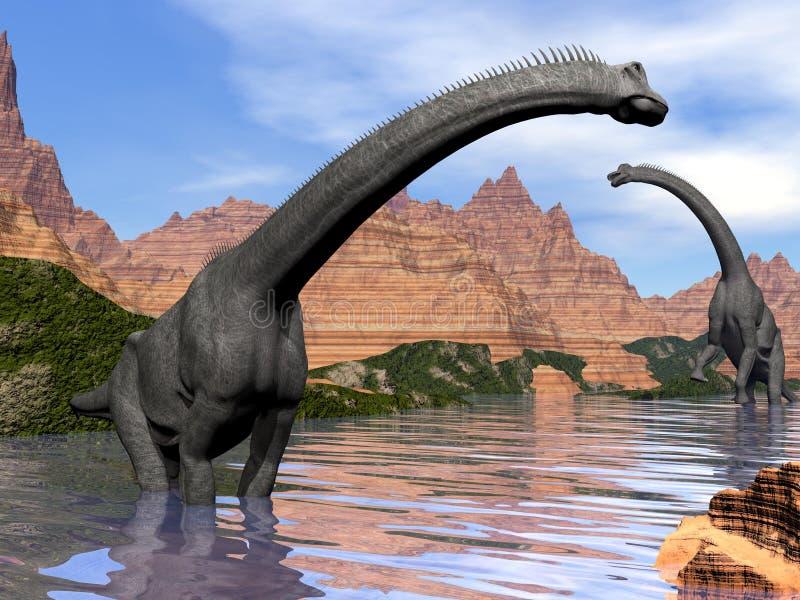 Dinossauros do Brachiosaurus na água - 3D rendem ilustração royalty free