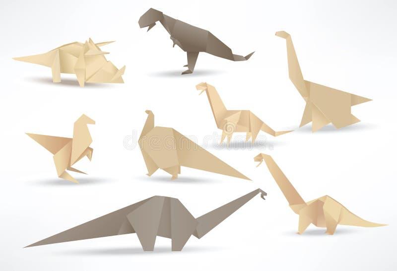 Dinossauros do origâmi (tom do sepia) ilustração royalty free